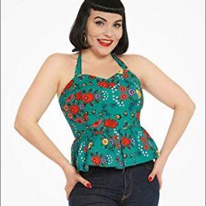 'Lettie' Green Quaint Floral Peplum Top